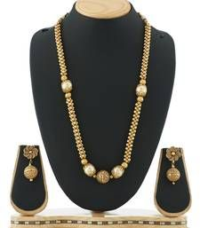 Buy Traditional golden ball necklace set Imitation jewellery Online