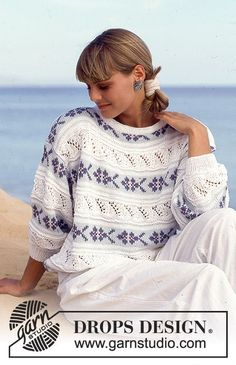 DROPS jumper with lace pattern and flower borders in Muskat. Free pattern by DROPS Design. Drops Design, Free Knitting Patterns For Women, Sweater Knitting Patterns, Crochet Patterns, Knitting Kits, Fair Isle Knitting, Magazine Drops, Vintage Patterns, Knitwear