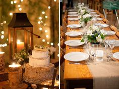 Camp Highlander, NC rustic camp wedding: reception table and cake table with burlap runners and birch bark cake