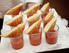 Party Frosting: appetizers. This page has AWESOME party appetizer ideas, such as tomato soup shooters with grilled cheese triangles!