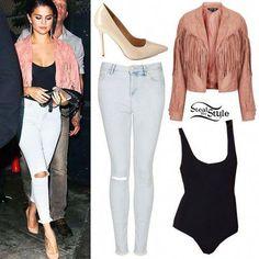 Selena Gomez leaving The Abbey Food & Bar in West Hollywood, June 2014 - photo: selgomez-news Selena Gomez Fashion, Selena Gomez Outfits, Selena Gomez Style, Night Outfits, Spring Outfits, Casual Outfits, Cute Outfits, Fashion Outfits, Body Suit Outfits