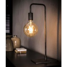This sleek Dory silver colored table lamp is made of metal with an old silver finish. The lamp has a slim round tube and a square flat foot. Wooden Tripod Floor Lamp, Wooden Lamp, Edison Lighting, Industrial Lighting, Industrial Style, Industrial Design, Desk Lamp, Table Lamp, Happy New Home