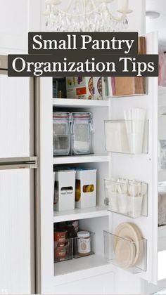 Tiny Pantry, Small Kitchen Pantry, Small Pantry Organization, Kitchen Cabinet Organization, Home Organization Hacks, Pantry Storage, Extra Storage, Organize Kitchen Cupboards, Organize Small Pantry