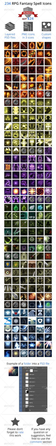 234 RPG Fantasy Spells Icons Bundle bundle, cast, characters, combat, elements…