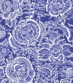 Latin Fabric- Skull Floral Wht & Blue Flannel