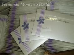 Convite Casamento Branco com Lilás ~ CataVento Artes