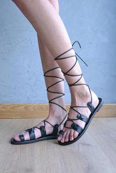 Black lace up sandals / Gladiator sandals / Black leather