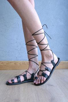 Black lace up sandals / Gladiator sandals / Black leather