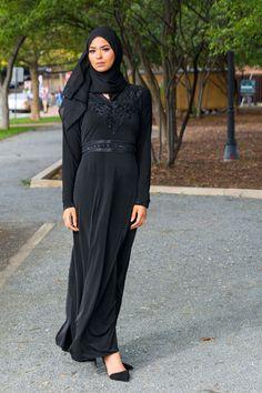 Lotus Black Dress Abaya