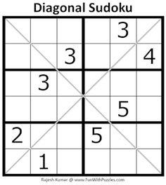 Diagonal Sudoku Puzzle (Mini Sudoku Series #108) Printable Puzzles For Kids, Sudoku Puzzles, Printables, Mini, Print Templates