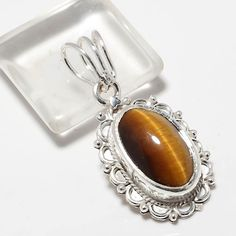 "925 SOLID STERLING SILVER TIGER EYE GEMSTONE PANDENT 1.5"" #Handmade #PANDENT"