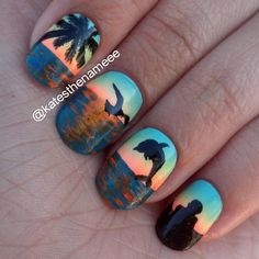 I am unfolding before you 18 beach nail art designs, ideas, trends & stickers of these summer nails are adorable and stunning. Trendy Nails, Cute Nails, My Nails, Beach Themed Nails, Nail Art Designs, Beach Nail Designs, Beach Nail Art, Beach Art, Nailart