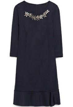 Navy Half Sleeve Rhinestone Neckline Ruffle Hem Dress US$31.67