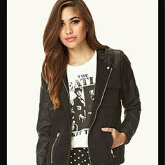 Faux Leather Jacket The hood and selves are faux leather Never been worn comes with tags  Sliver zippers also has buttons Forever 21 Jackets & Coats