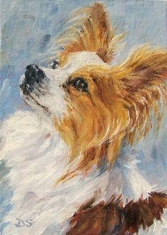 Sable Papillon Oil Painting Dog Pet Art Miniature, painting by artist Debra Sisson