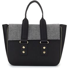 French Connection Elite Tweed Flap-Top Satchel Bag ($53) ❤ liked on Polyvore featuring bags, handbags, blk, tweed handbags, french connection purse, french connection, top handle satchel and french connection handbags