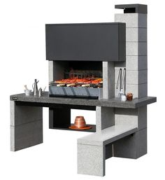 A fantastic outdoor kitchen, the Big K New Jersey Crystal Masonry Barbecue is a superb silver-grey construction that will look impressive in any setting. Design Barbecue, Barbecue Area, Grill Set, Bbq Grill, Parrilla Exterior, Summer Kitchen, Outdoor Cooking, Outdoor Kitchens, Diy Design