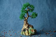 Handmade Decorative Green Beaded Bonsai Tree With Stand For Table Decoration -- Find out more about the great product at the image link.