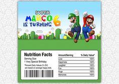 Super Mario Birthday Candy Bar or Chocolate Bar by PrintSparkle