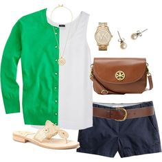 Love this.  I do not wear shorts so pair with  blue linen capris, and I would use a brown sandal.