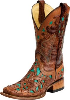 Corral Tan and Turquoise Leather Cowgirl Boots - Cowgirl Boots - Womens - Footwear Western Wear, Western Boots, Cowboy Boots, Cowboy Western, Square Toe Cowgirl Boots, Country Boots, Western Outfits, Cute Shoes, Me Too Shoes