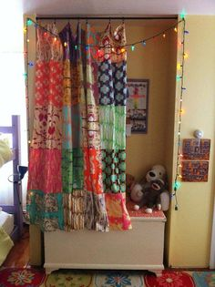 Curtain made from repurposed fabric.