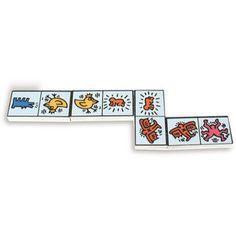 Domino de fusta blanc de Keith Haring. Domino de madera blanco de Keith Haring
