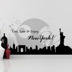 With this Live Love N Enjoy NY Wall Sticker Decal you can decorate your walls in one of the most modern and elegant ways