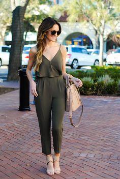 lauren sims wearing olive green jumpsuit