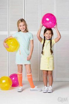 Quapi | Dress Filou Mint | Kneesocks Fara 2 Coral | Dress Felin Sunshine