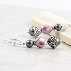 Rose Pearl Earrings Dusty Mauve Pink Smoke by AbacusBeadCreations, $24.00