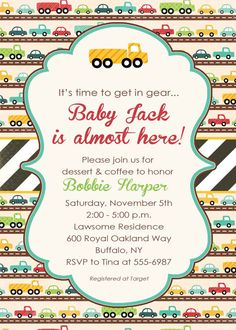 baby boy shower invitation with cars printable by katiedidesigns, $13.00