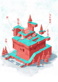 Atrapasueños on Behance by Gabriel Mourelle Like Zelda meets Monument Valley