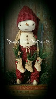 Primitive Snowman w/ Stockings Cupboard Hanging Doll Winter Christmas #NaivePrimitive