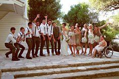 Groomsmen in suspenders. Groom in vest -- no tux. by angelia