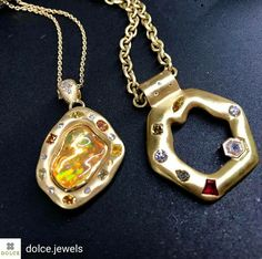 Delighted to share this post from Dolce Jewels - which is featuring my jewels at its Denver store. Honored to be there. #dolcedenver @Regrann from @dolce.jewels - We're in 💛 with @lisadescampsjewelry pendants! Dreamy fire opal, diamonds and ruby set in silky gold 💛💎