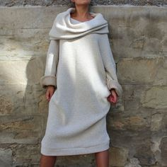 2016-Autumn-Women-Casual-Cowl-Neck-Oversized-Loose-Party-Sweater-Dress-Plus-Size