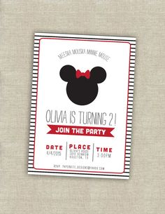 Minnie Mouse birthday invitation by paperkitedesigns on Etsy