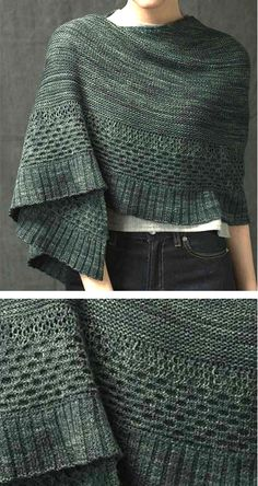 Knitting Pattern for New Growth Shawl - This large crescent-shaped shawl features sections of garter stitch, honeycomb cables and ribbed edge. #ad One of the 22 patterns in Interweave Knits Holiday 2017. Click on pin image to see more and download the magazine.