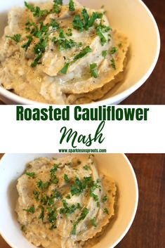 Roasted Cauliflower Mash is the perfect KETO/Low Carb side that everyone is sure to love.  It is quick, easy and loaded with tons of flavor.    Check out the post for some additional options to amp up the flavor even more. . #cauliflower #cauliflowermash #roastedcauliflower #side #keto #lowcarb #sparklesnsprouts