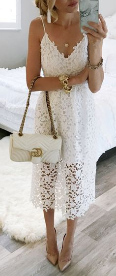 #spring #fashion  White Lace Dress & Nude Pumps