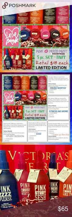 """🆚 ~ 🅿️iNK 🖤MOODS SPRAY🖤 5/$65 ~ FULL SET Victoria's Secret 💖 PiNK 💖 Moods Spray  *This listing is for the COMPLETE, 5 pc. Set of PiNKS'  """"MOOD SPRAY"""". The 5 fragrances are...  ✨ CRUSH WORTHY ✨ STRESS NO MORE ✨ STUDY SESH ✨ ZZZZ PLEASE ✨ I WAKE UP LIKE THIS (Pic #2 has details for ea)  💖LARGE Spray pump Bottles ~ 8.5oz. Each 💖 No longer available @ 🆚 💖 BNIBottle ~ NWT 💖 Limited Edition  5/$65 = $13 each ($18 Value each)  🆓 With this purchase, upon request, you'll receive up to 5…"""