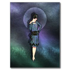 Charla - 1920s Fashion in Blue, Teal and Mauve Post Cards