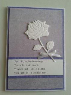 Condoleancekaart met tekst en mooie witte roos...