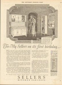 1924 Sellers Kitchen Cabinets Elwood Indiana Hoosier Cuboard 1920s Home Decor Ad | eBay