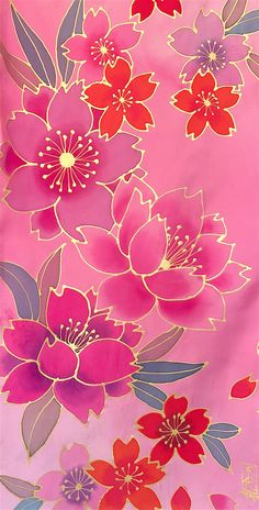 Silk Scarf Women Handpainted, Japanese Sakura Scarf Silk, Pink and Gold Japanese Cherry Blossom, Reversible Scarf in Pink, Made to order Flower Wallpaper, Iphone Wallpaper, Gold Drawing, Hand Painted Fabric, Painted Silk, Batik Art, Silk Art, Fabric Painting, Silk Scarves