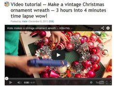 I am a completist. So even though everyone may be tired of hearing aboutmaking vintage ornament wreaths <– tutorial here, I need to do this story — about making these wreaths using new ornaments, instead of old. Some folks want to use new ornaments — because they cannot get their hot hands on the vintage… …