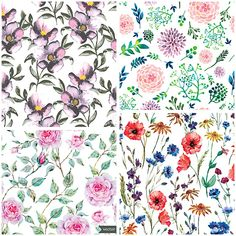 Hand painted summer floral patterns set vector