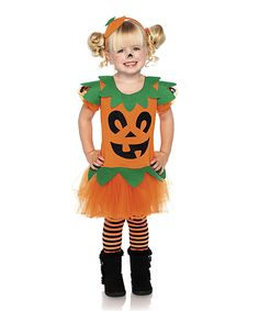 Orange Pumpkin Tutu Dress-Up Set - Toddler & Girls | A little one can enter a world of dreams when they slip into this whimsical set. Playfully adorable and complete with a headband, it's perfect for costume parties or impromptu dress-up sessions when friends come over to play!   Includes dress and headband Shoes not included 100% polyester Hand wash; dry flat.. 3t-4t