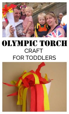 Olympic Torch Craft for Toddlers and older kids to make perfect to hold your own opening ceremony in a Toddler Olympics this year Summer Camp Crafts, Camping Crafts, Fun Activities For Toddlers, Preschool Activities, Toddler Sports, Toddler Games, Olympic Idea, Olympic Crafts, Special Olympics